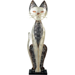 Metal Cat Figurine with Seashells