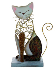 Seashell & Metal Cat Figurine