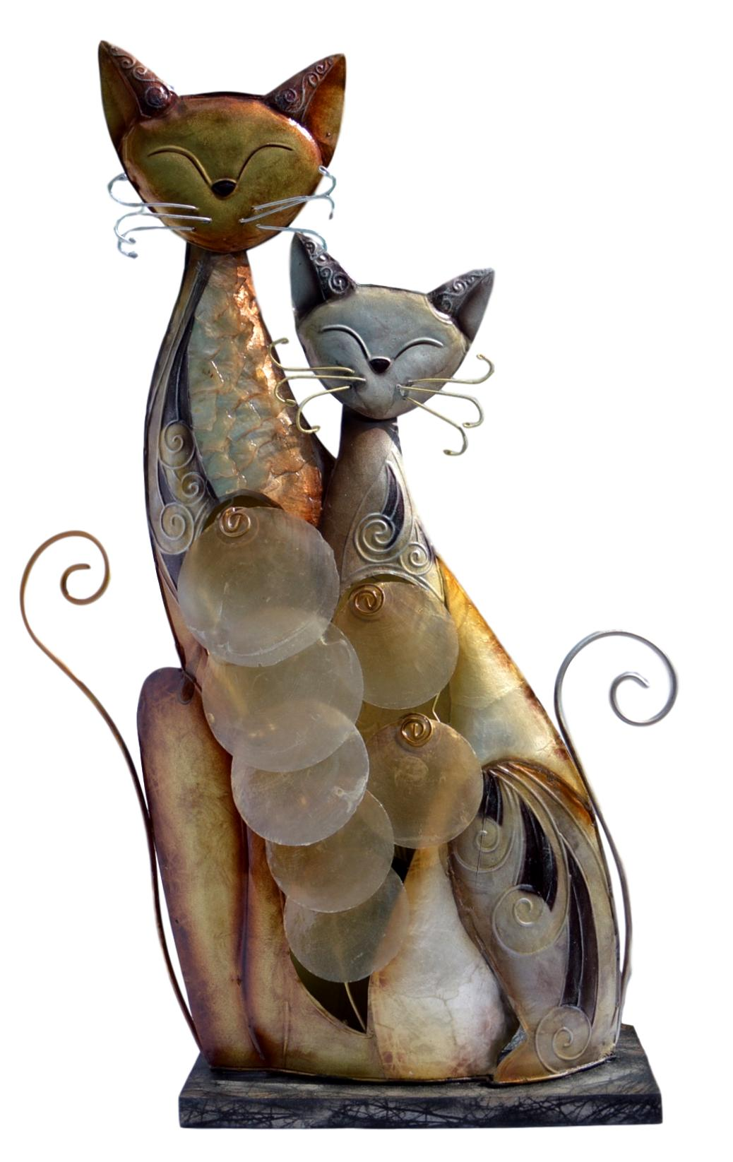 Seashell Twin Metal Cats Figurine Lamp