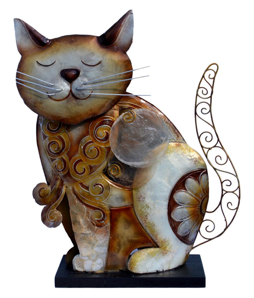 Seashell Metal Cat Figurine Lamp