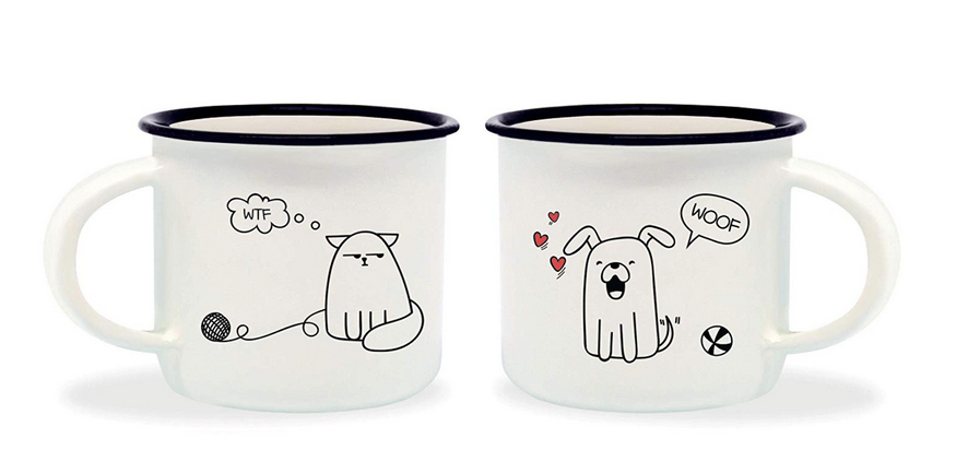 Set of 2 Cat & Dog Espresso Cups