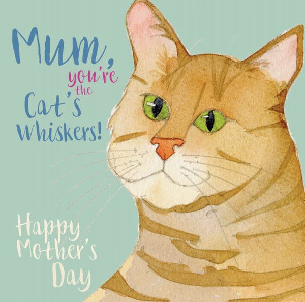 """Mum, You're the Cat's Whiskers"" Mother's Day Cat Greeting Card"