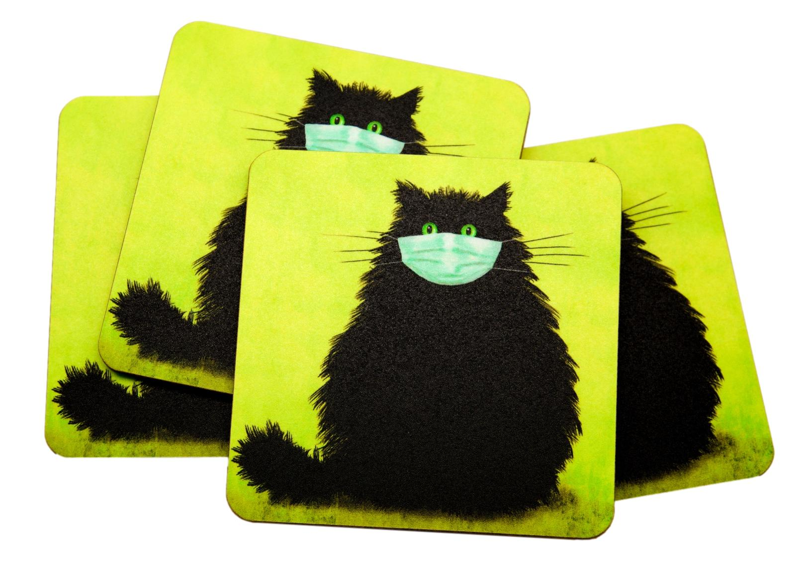 The Masketeer Black Cat Set of 4 Cat Coasters