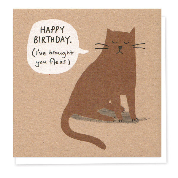 Naughty Brown Cat Birthday Card