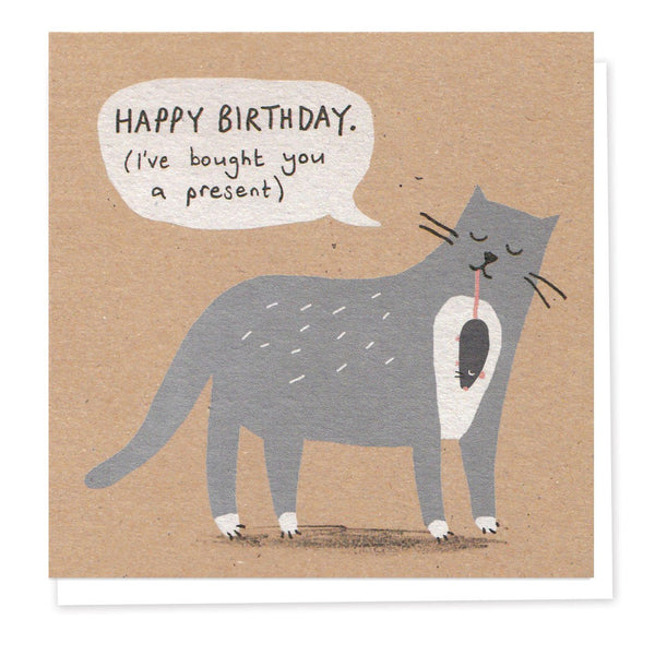 Naughty Grey Cat Birthday Card