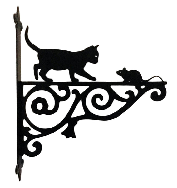 Metal Black Cat & Mouse Hanging Bracket