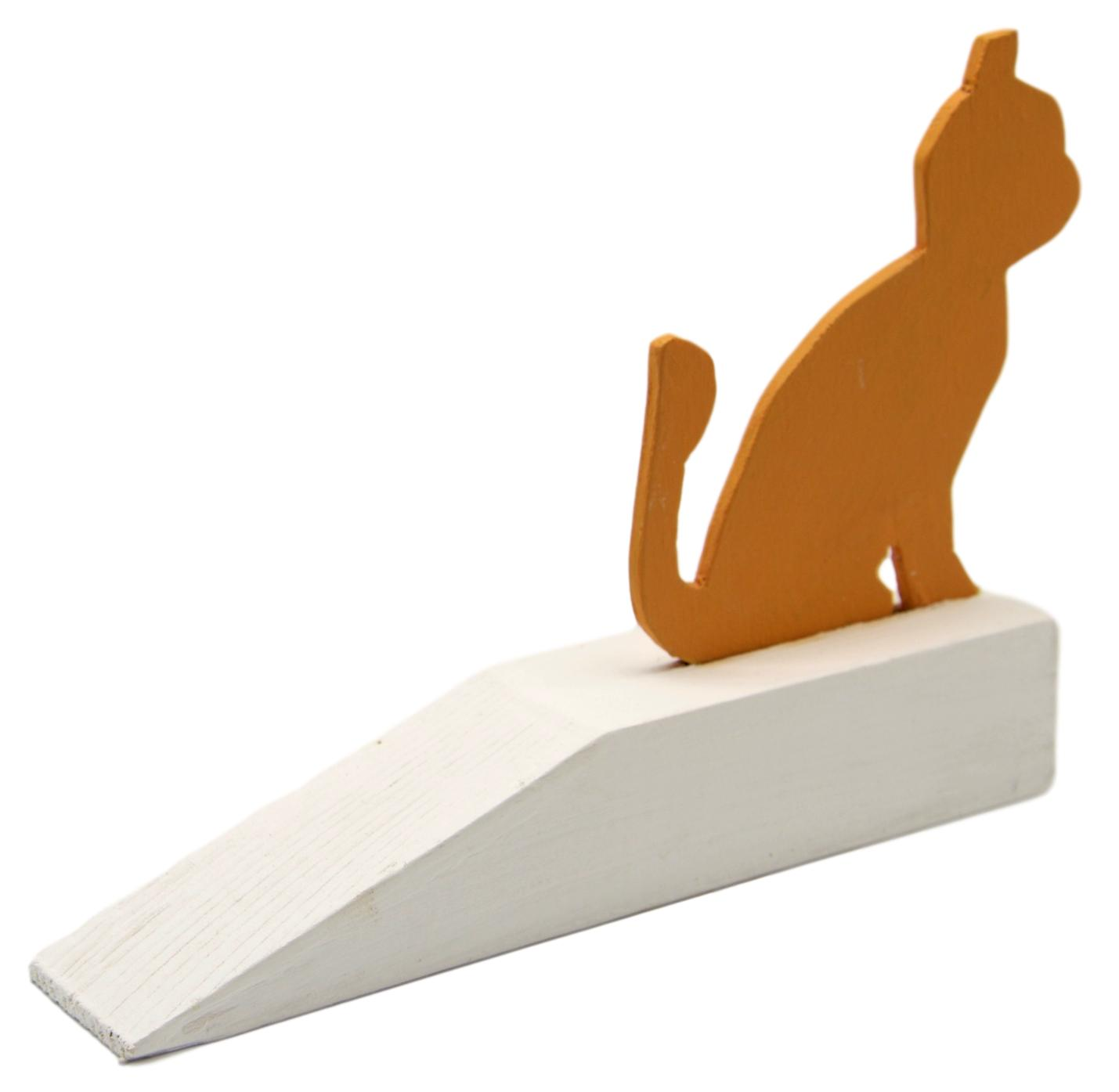 Cat Figure Wooden Door Stop Wedge