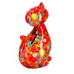 Orange Ceramic Pomme Pidou Caramel Cat Money Box