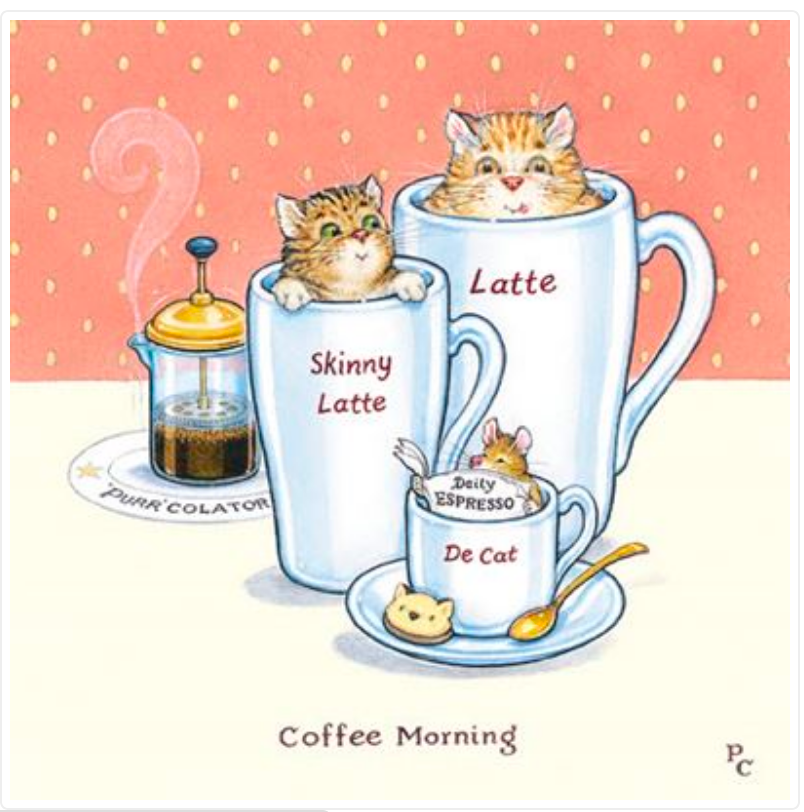 Coffee Morning Cat Greetings Card by Peter Cross (PCII0092)