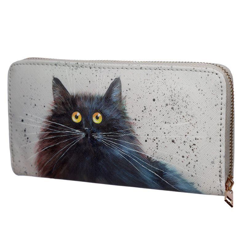 Kim Haskins Herman Black Cat Zip Around Large Wallet Purse