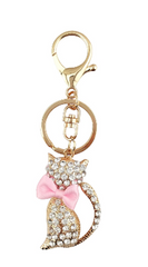 White, Pink & Blue Bowtie Cat Bag Charm / Keyring