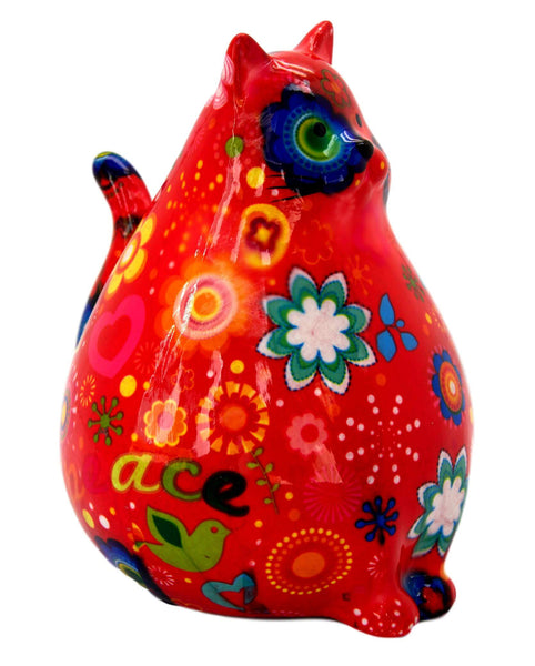 Red Peace & Love Ceramic Pomme Pidou Chubby Cat Money Box