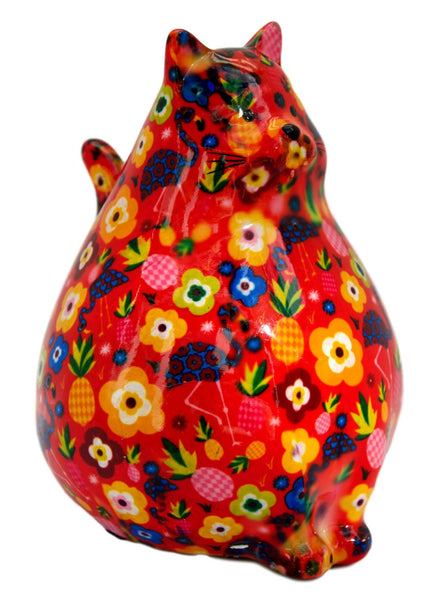 Red Ceramic Pomme Pidou Chubby Cat Money Box