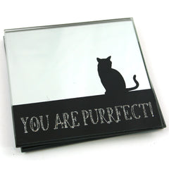 Set of 2 Mirror Glass Silhouette Cat Coasters