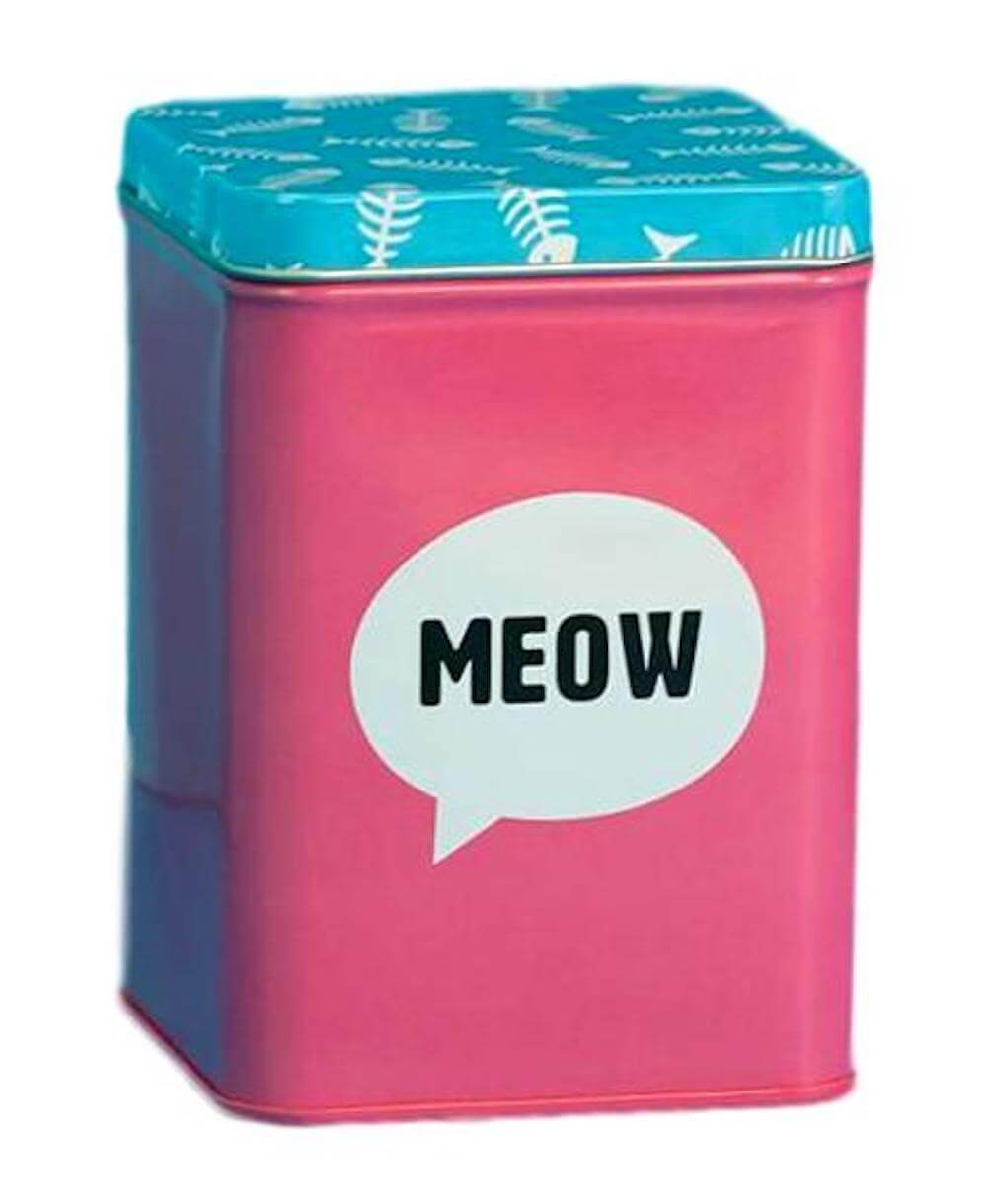 Meow Pink & Blue Metal Cat Treat Tin