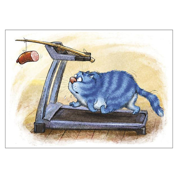 'Fitness 2' Funny Cat Greeting Card by Rina Zeniuk