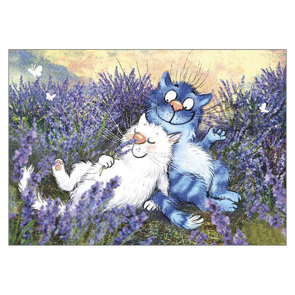 'Lavender' Funny Cat Greeting Card by Rina Zeniuk