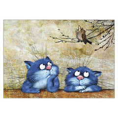 'Not Again' Funny Cat Greeting Card by Rina Zeniuk