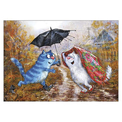 'Old Umbrella' Funny Cat Greeting Card by Rina Zeniuk