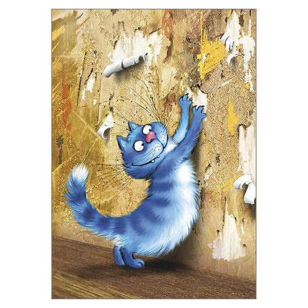 'Satisfaction' Funny Cat Greeting Card by Rina Zeniuk