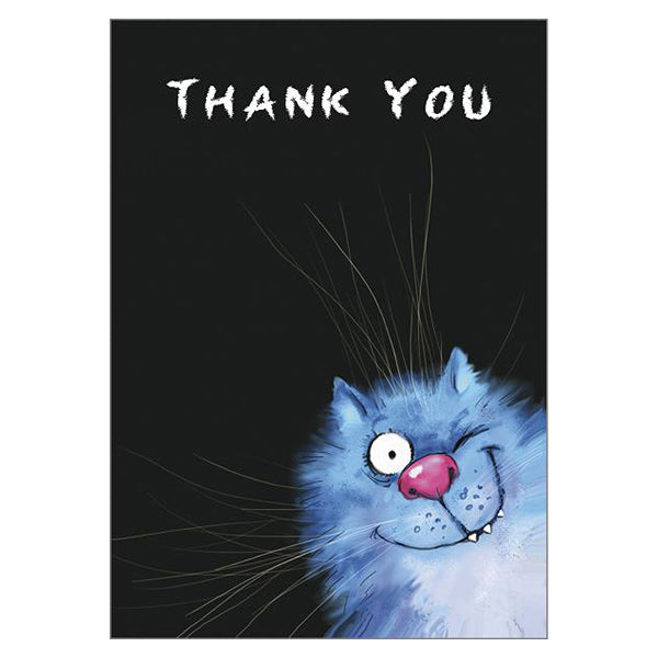'Thank You' Funny Cat Greeting Card by Rina Zeniuk
