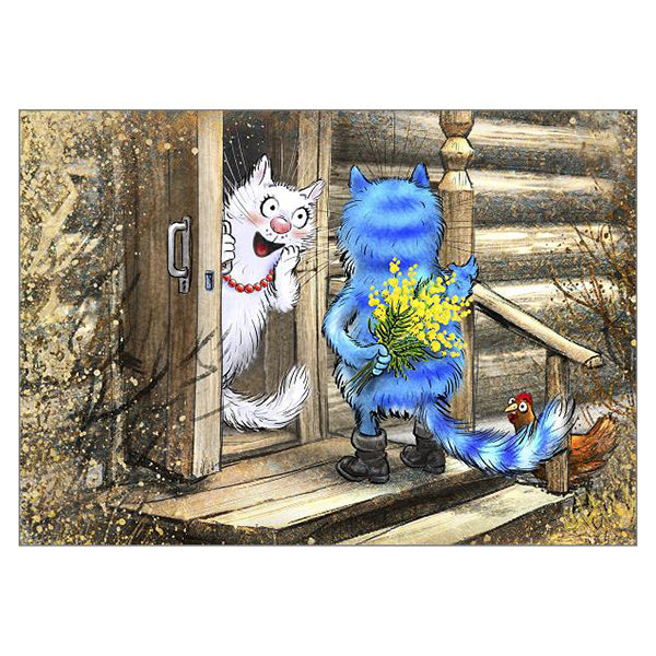 'Thanks a Bunch' Funny Cat Greeting Card by Rina Zeniuk