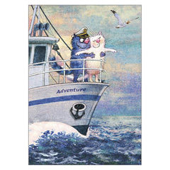 'The Adventure' Funny Cat Greeting Card by Rina Zeniuk