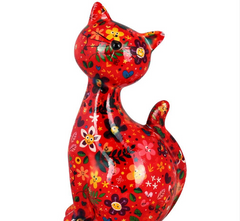 Red Ceramic Pomme Pidou Caramel Cat Money Box