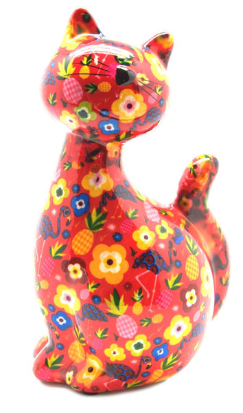 Red with Flowers Ceramic Pomme Pidou Caramel Cat Money Box