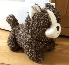 Shabby Furry Brown Cat Door Stop