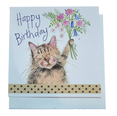 Cat & Bouquet Birthday Card