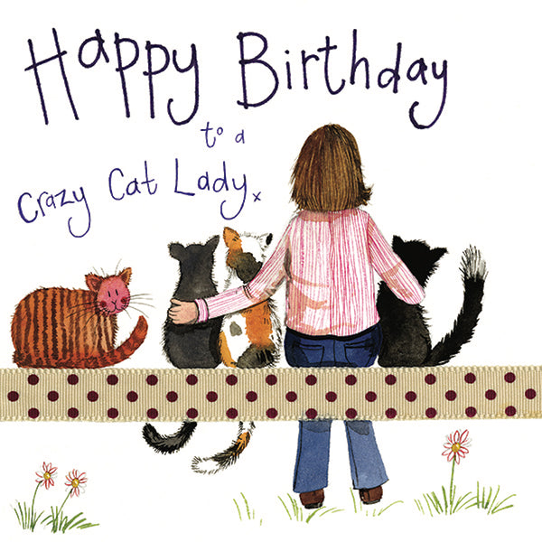 Glitter Crazy Cat Lady Birthday Card