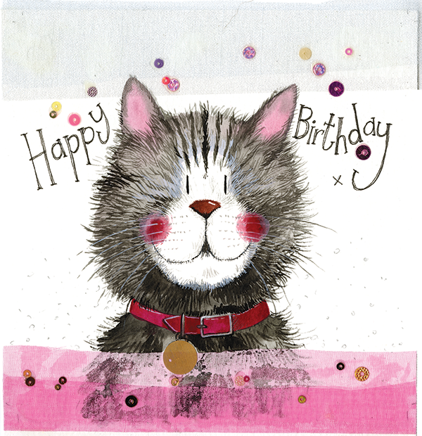 Cat & Collar Birthday Card