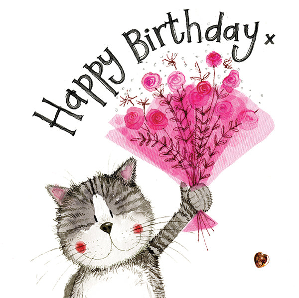 Pink Bouquet Cat Birthday Card