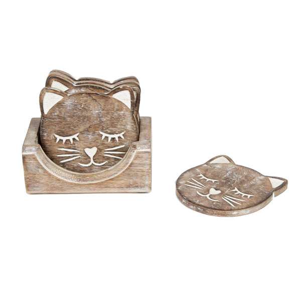 Set of 6 Rustic Wooden Cat Coasters