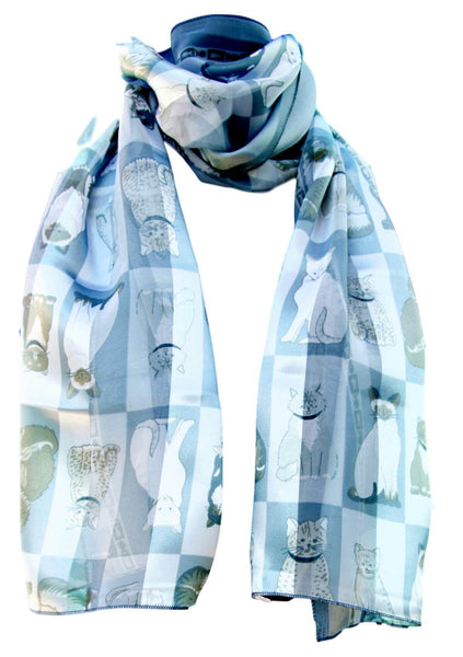 Silver Grey Box Satin Chiffon Feel Cat Print Scarf
