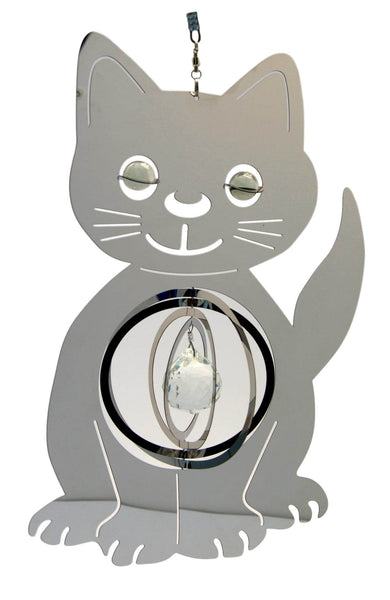 3d Stainless Steel Cat Wind Spinner