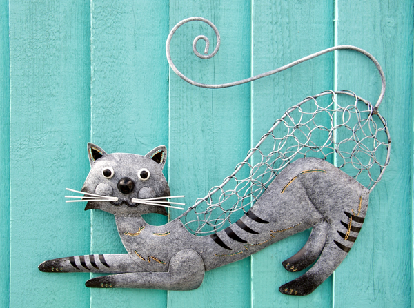 Metal Pouncing Cat Wall Decor
