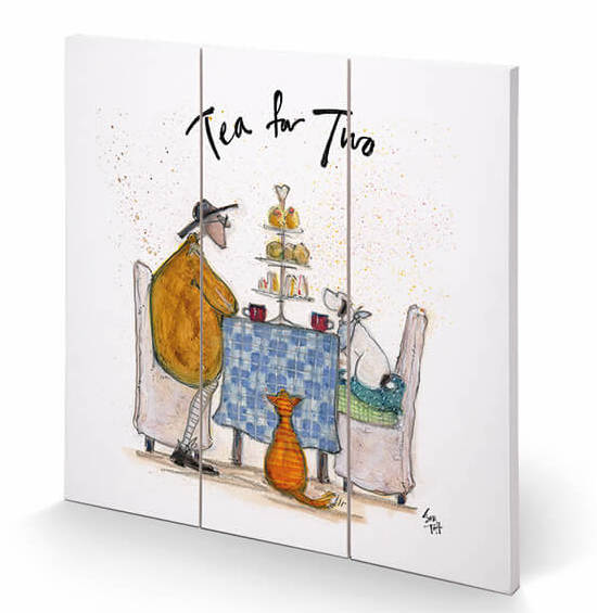 Sam Toft Tea for Two Wooden Print 30x30cm