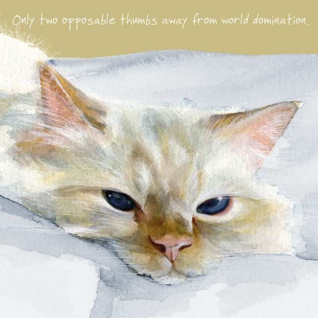 'Two Thumbs' Cat Greeting Card by Anna Danielle