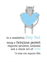 Step Dad DNA Cat Greeting Card