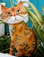 Coloured Garden Stick Cat with Wobbling Head