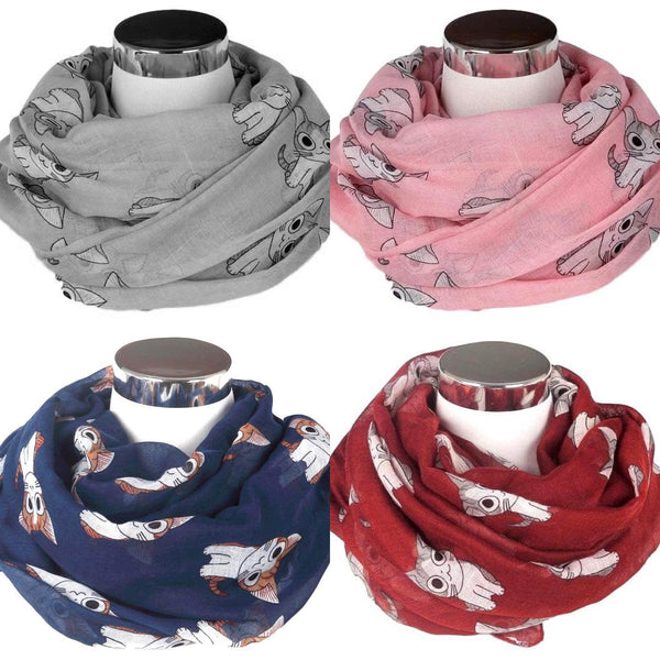 Sashion Blue, Pink, Grey or Red Cat Print Scarfs