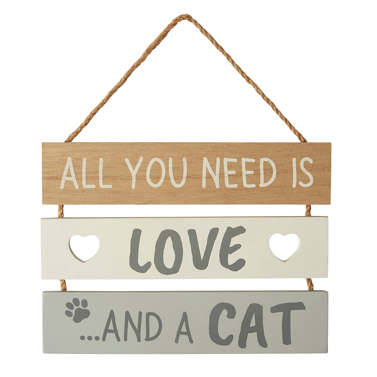 All You Need is Love and a Cat Slatted Sign