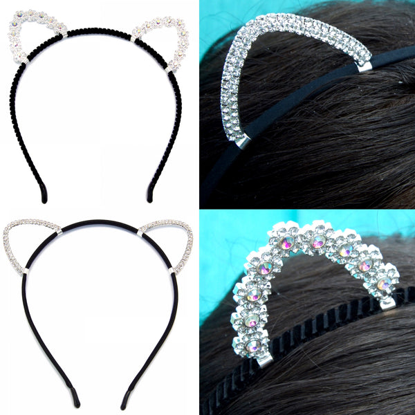 Silver Sparkly Cat Ears Headband