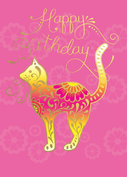 Gold Embossed Cat Birthday Card