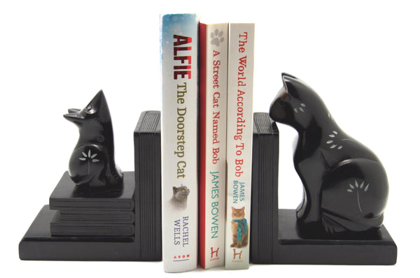 Cat & Mouse Stone Book Ends