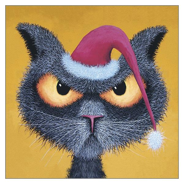 'Scrooge' Funny Cat Christmas Greeting Card by Tamsin Lord