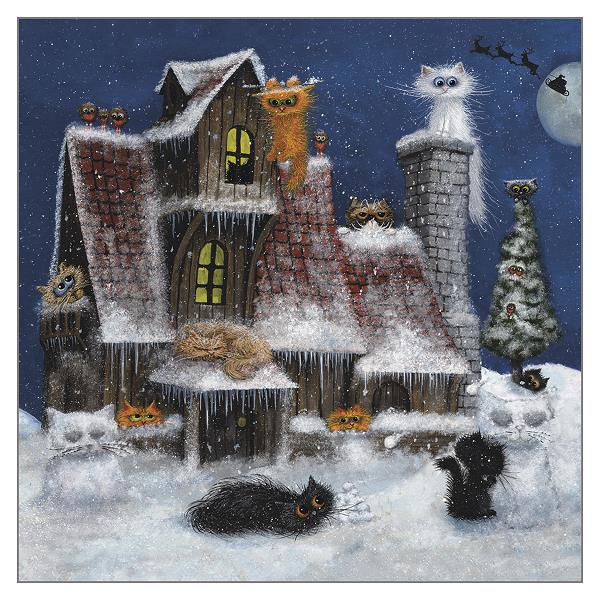 'Fiendish Feline Winter Wonderland' Funny Cat Christmas Greeting Card by Tamsin Lord