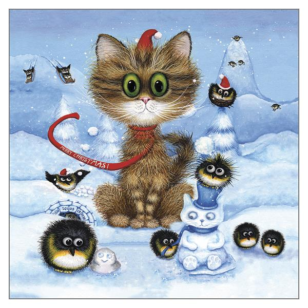 'Pebbles and the Penguin Posse' Funny Cat Greeting Card